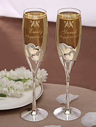 Personalized Toasting Flutes - Love Birds Wedding Reception Beautiful