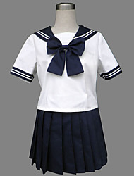 cheap -Student / School Uniform Cosplay Costume Party Costume Female Halloween Carnival Festival / Holiday Halloween Costumes Ink Blue Patchwork