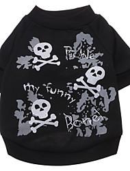 Cachorro Camiseta Roupas para Cães Fashion Dia Das Bruxas Caveiras Preto Ocasiões Especiais Para animais de estimação