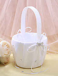 cheap -Flower Girl Basket In White Satin With Rhinestones Wedding Ceremony