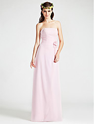 Sheath / Column Strapless Floor Length Chiffon Bridesmaid Dress with Flower(s) Split Front by LAN TING BRIDE®