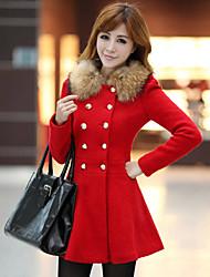 baratos -PRENAIR Duplo mama casaco de tweed plissados (excl.fur colar) (mais cores)