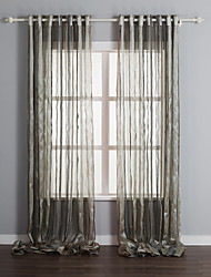 cheap -Rod Pocket Grommet Top Tab Top Double Pleat Two Panels Curtain Mediterranean, Print Stripe Polyester Material Sheer Curtains Shades Home
