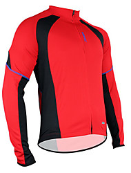 Недорогие -SANTIC Муж. Длинный рукав Велокофты - Красный Сплошной цвет Велоспорт Джерси Верхняя часть, Дышащий Сохраняет тепло Быстровысыхающий Полиэстер / Эластичность / Продвинутый уровень