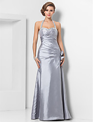 cheap -Sheath / Column Halter Sweetheart Floor Length Taffeta Formal Evening Military Ball Dress with Beading Flower Criss Cross Side Draping by