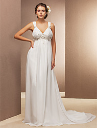 cheap -Sheath / Column V-neck Court Train Chiffon Wedding Dress with Beading Appliques Flower Side-Draped by LAN TING BRIDE®
