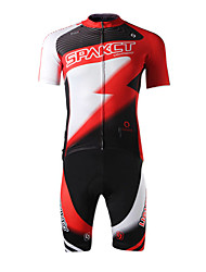 cheap -SPAKCT Men's Short Sleeves Cycling Jersey with Shorts - Red Bike Shorts Jersey Clothing Suits, 3D Pad, Quick Dry, Ultraviolet Resistant,