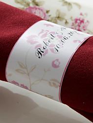 anneau de serviette en papier personnalisé - fleur rose (lot de 50) réception de mariage