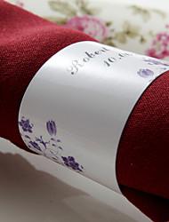 anneau de serviette en papier personnalisé - fleurs pourpres (lot de 50) réception de mariage