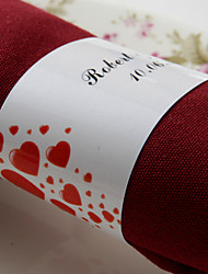cheap -Personalized Paper Napkin Ring - Red Hearts (Set of 50) Wedding Reception