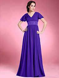 A-Line V-neck Floor Length Chiffon Mother of the Bride Dress with Beading Draping Criss Cross Ruching Pleats by LAN TING BRIDE®