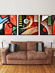キャンバスの3pcsの近代的な抽象的な壁時計