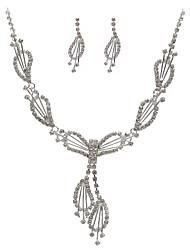 belle strass tchèque avec l'alliage de mariage des bijoux plaqués ensemble, y compris le collier et boucles d'oreilles