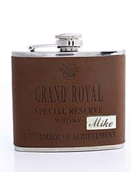 baratos -Couro Flask presente personalizado Brown 5 oz PU