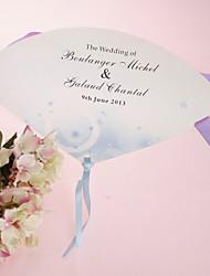 Недорогие -персонализированные бумаги перлы вентилятор руки - синий романс (набор из 12)