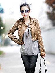 cheap -Women's Short Leather Jacket, Solid