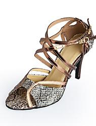 Недорогие -Жен. Танцевальная обувь Дерматин Обувь для латины / Бальные танцы Пряжки На каблуках На шпильке Персонализируемая Бронза