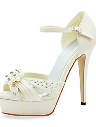 Fashion Satin Stiletto Sandalen mit Imitation Perle Hochzeit Schuhe (weitere Farben)