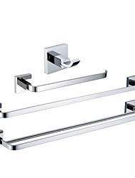 Недорогие -Хромированная отделка латунь ванной комнаты Наборы (Включая одеяние Крючки, кольца для полотенец, 2 бара полотенце)