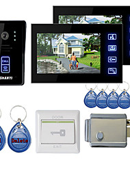 "7"" Color Hands Free Video Door Phone With 2 Monitors  Night Vision RFID Keyfobs Electronic Controlling Lock"