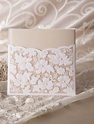 """Hülle & Taschenformat Hochzeits-Einladungen 50-Einladungskarten Blumiger Stil Perlen-Papier 6""""×6"""" (15*15cm)"""