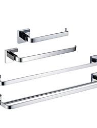 abordables -Set d'Accessoires de Salle de Bain Haute qualité Moderne Laiton 4pcs - Bain d'hôtel barre de tour Porte-papier toilette