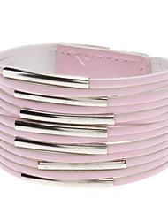 Multilayer Leder Metall Ring Wide Armband (Pink)