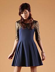 Zhi Yuan Splejsning Lace Saml 1/2 Længde Sleeve Dress (Flere farver)