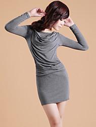 Zhi Yuan Cowl Collar Langærmet Bodycon Dress (Flere farver)