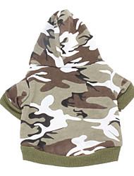 economico -Cane Felpe con cappuccio Abbigliamento per cani Traspirante Casual Di tendenza Camouflage Verde Rosa Costume Per animali domestici
