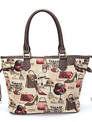 Nryana Crema Scarpe e Cappello Stampa One Shoulder Bag