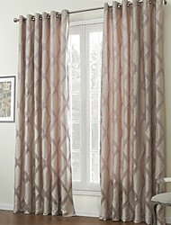cheap -Two Panels  Contemporary Jacquard Rhombus Lined Curtain