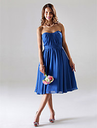 cheap -A-Line Princess Strapless Sweetheart Tea Length Chiffon Bridesmaid Dress with Draping Ruching by LAN TING BRIDE®