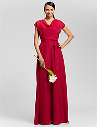 cheap -Sheath / Column Cowl Neck Floor Length Chiffon Bridesmaid Dress with Draping Sash / Ribbon by LAN TING BRIDE®