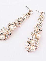 abordables -Sweety zircon de la aleación de la perla pendientes de la flor del patrón