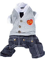 cheap -Dog Jumpsuit Dog Clothes Heart Jeans British Gray Cotton Costume For Pets Men's Fashion