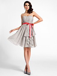 cheap -A-Line / Princess / Fit & Flare Strapless / Sweetheart Neckline Knee Length Chiffon Cocktail Party Dress with Draping / Sash / Ribbon / Cascading Ruffles by TS Couture®