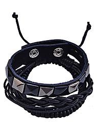 rivetto lureme®vintage perline di legno braccialetto intrecciato collegato (nero)