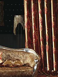 Rod Pocket Grommet Top Tab Top Dvaput nabrane Dvije zavjese Prozor Liječenje Europska Neoclassical , Jacquard Bedroom Polyester Materijal