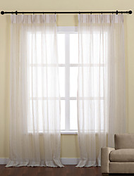 cheap -Rod Pocket Grommet Top Tab Top Double Pleat Two Panels Curtain Neoclassical , Jacquard Stripe Polyester Material Sheer Curtains Shades