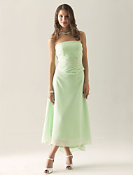Sheath / Column Strapless Tea Length Asymmetrical Chiffon Bridesmaid Dress with Ruching Ruffles by LAN TING BRIDE®