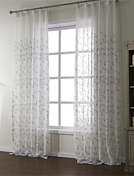 cheap -Rod Pocket Grommet Top Tab Top Double Pleat Two Panels Curtain Country, Embroidery Material Sheer Curtains Shades Home Decoration