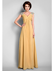 cheap -A-Line V Neck Floor Length Chiffon Mother of the Bride Dress with Beading Draping Criss Cross by LAN TING BRIDE®