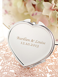 Personalized Heart Shaped Stainless Steel Compact Mirror Favor