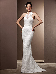 cheap -Mermaid / Trumpet Halter Sweep / Brush Train Lace Wedding Dress with Beading Button Flower by LAN TING BRIDE®