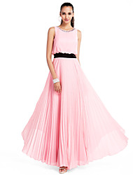 cheap -A-Line / Princess Jewel Neck Floor Length Chiffon Prom / Formal Evening Dress with Crystals / Sash / Ribbon / Pleats by TS Couture®