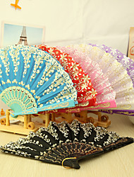Asain Theme Plastic Hand Fan - Set of 4(Mixed Colors,Mixed Floral Pattern)