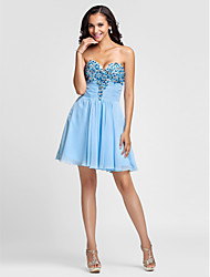 cheap -A-Line Princess Strapless Sweetheart Short / Mini Chiffon Cocktail Party Prom Dress with Beading Draping Ruching by TS Couture®