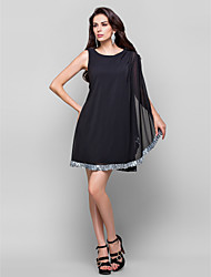 Sheath / Column Jewel Neck Short / Mini Chiffon Cocktail Party Dress with Crystal Detailing Draping by TS Couture®