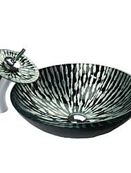 Недорогие -Полоса шаблон Закаленное стекло раковины ванной комнаты Set (с водопадом кран, Монтажные кольца и канализации)